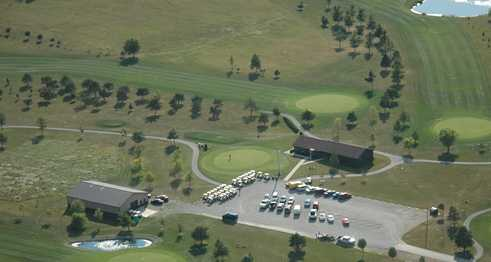 Aerial view of the clubhouse at Prairie View Golf Club