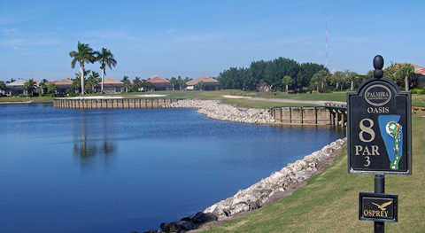 A view of the 8th tee sign at Osprey Course from Palmira Golf Club