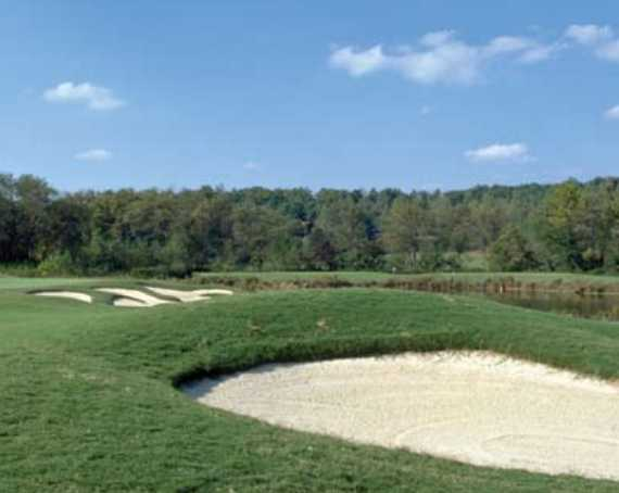 A view of hole #12 guarded by bunkers at Brasstown Valley Resort