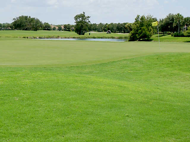 A view of a green with water coming into play at Stoneybrook Golf Club