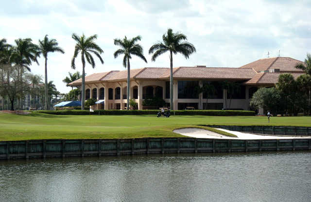 A view over the water of the clubhouse at The Club at Boca Pointe.
