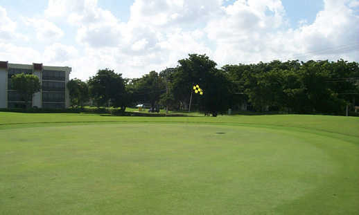 A view of green #1 at Boca Dunes Golf & Country Club
