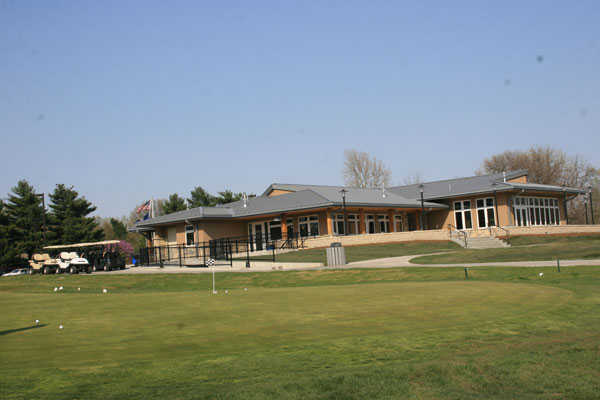 A view of the clubhouse at Tomahawk Hills Golf Course