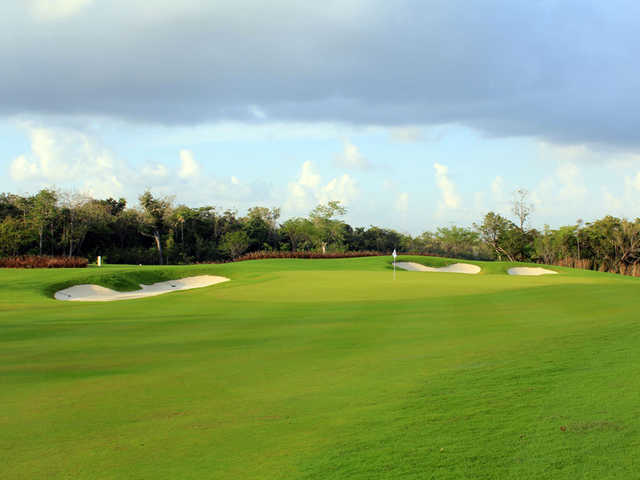View of a hole and bunkers from El Tinto Golf Course at Cancun Country Club.