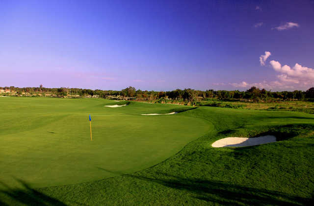 View of a green and bunkers at Hard Rock Golf Club at Cana Bay
