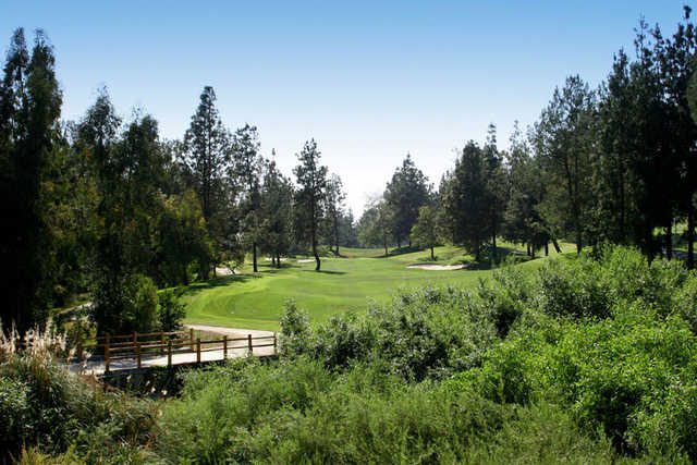 A view of the 4th hole at Zaharias Course from Industry Hills Golf Club at Pacific Palms Resort