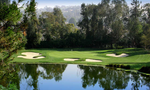 A view of  green #13 at Zaharias Course from Industry Hills Golf Club at Pacific Palms Resort