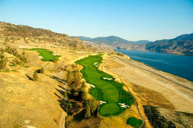 Aerial view of the 16th hole at Tobiano Golf Course