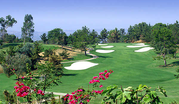 A view of the 17th hole at Eisenhower Course from Industry Hills Golf Club at Pacific Palms Resort