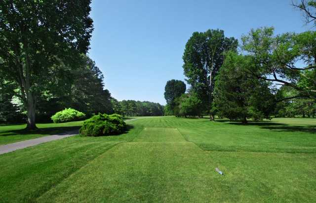 A view from the 2nd tee with a narrow path on the left side at Green Hill Country Club