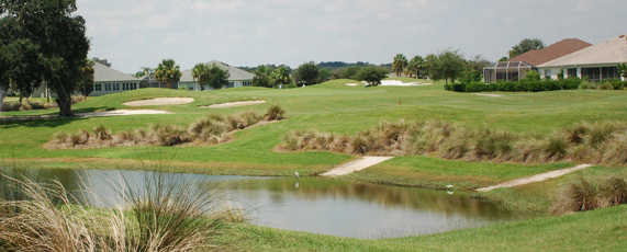 A view over the pond from Churchill Greens at The Villages Executive Golf Trail.