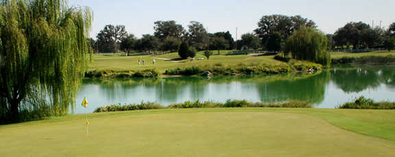 A view of a green with water coming into play at Hawkes Bay from The Villages Executive Golf Trail.