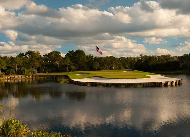 A view of green #9 surrounded by water at Trump National Golf Club.