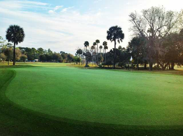 A view of a green at Riviera Country Club