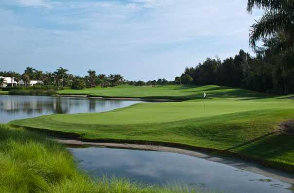 A view of a green with water coming into play at Orchid Island Golf & Beach Club