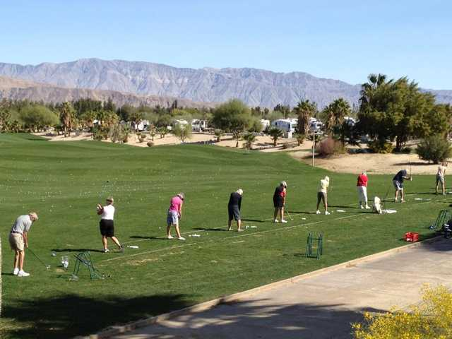 A view of the driving range tees from The Springs at Borrego