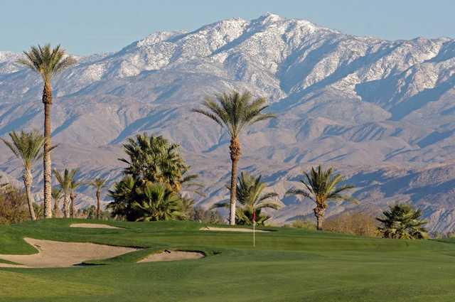 A view of a green protected by sand traps at Borrego Springs Resort