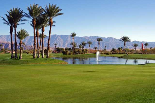 A view of a hole with water coming into play at Borrego Springs Resort