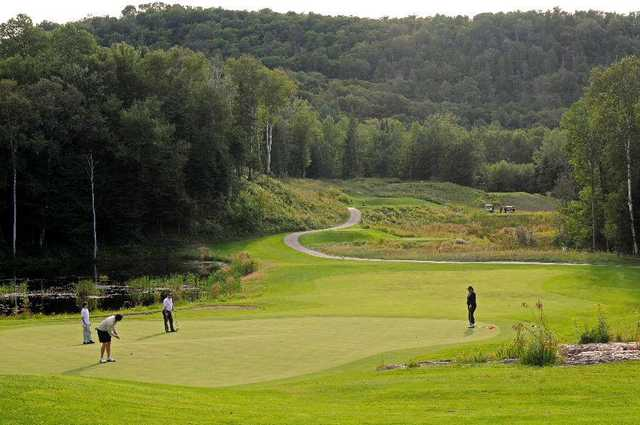 A view of the 15th green at La Bete from Gray Rocks Golf.