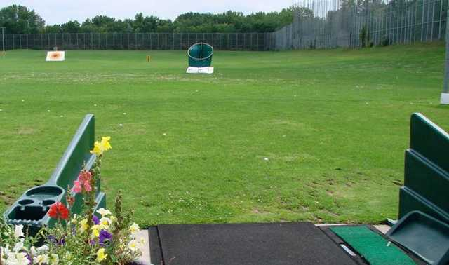 A view from the driving range tees at Island Lake Golf & Training Center