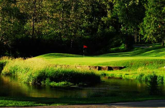A view over the water of a green at Beaverdale Golf Club