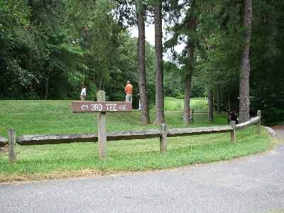 A view of the 3rd tee sign from Ocean County Golf Course at Forge Pond