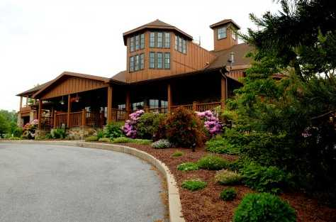A view of the clubhouse at Golden Oaks Golf Club