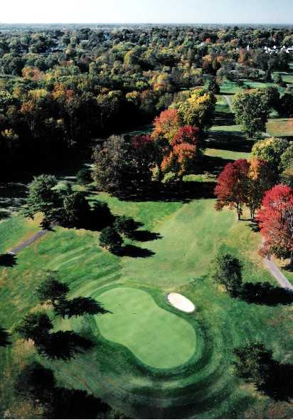 Aerial view of green #3 at Shelbyville Country Club