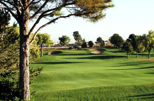 A view of a fairway and a green protected by a collection of tricky bunkers from Championship Golf Course At University of New Mexico
