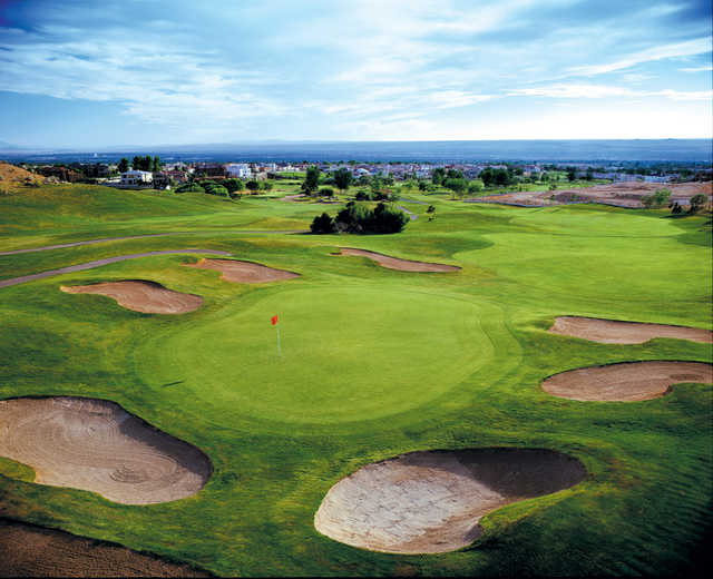 A view of the 4th green protected by tricky bunkers at Sandia Course from Tanoan Country Club