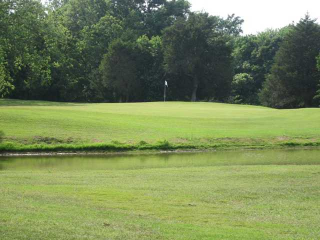 A view of the 14th green protected by water at Webb Hill Country Club