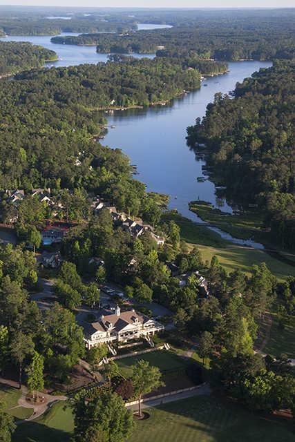 Aerial view of the Harbor Club on Lake Oconee