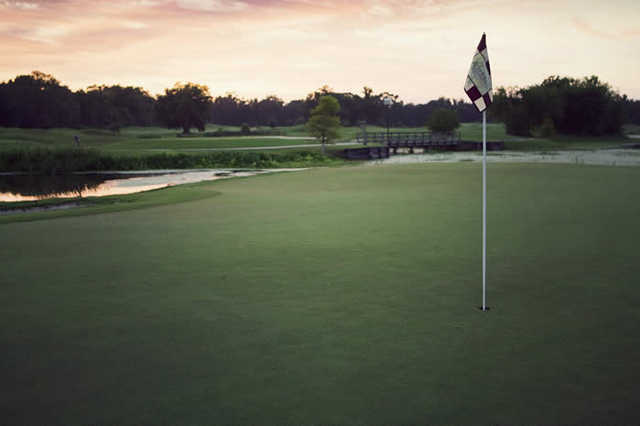 A view of the 18th green from The Atchafalaya at Idlewild