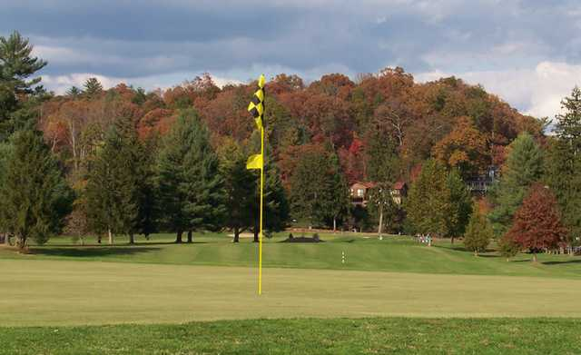 A fall view of a hole at Asheville Golf Course