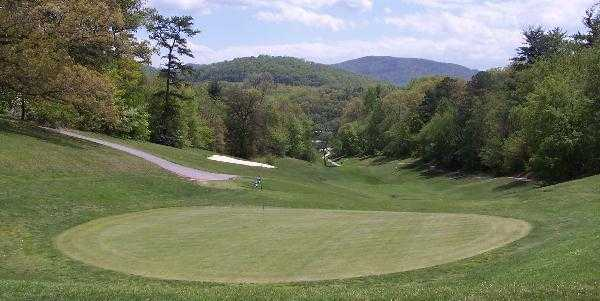 A view of a green at Asheville Golf Course
