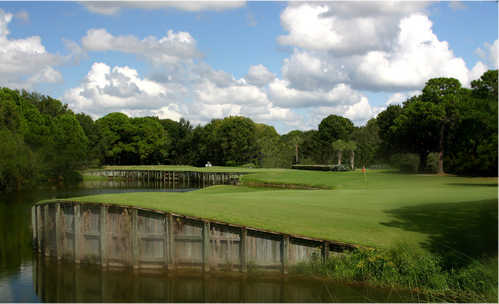 A view of a green at The Groves Golf Course