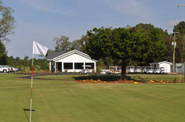A view of the clubhouse at Holly Hill Golf Club