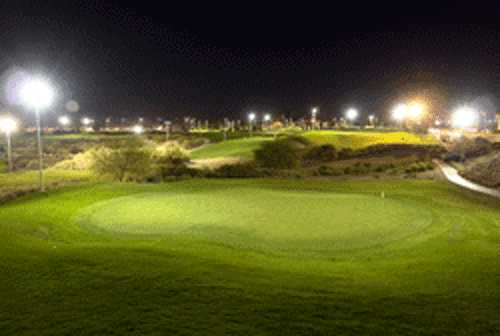 An evening view of a green at Cloud 9 Course from Angel Park Golf Club