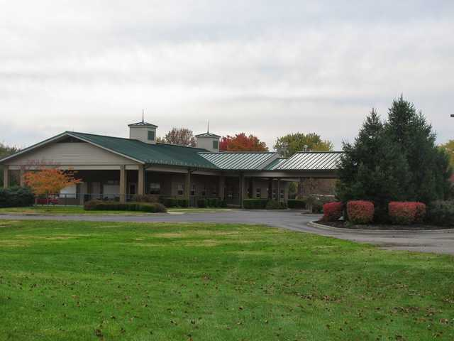 A view of the clubhouse at Wooded View Golf Course