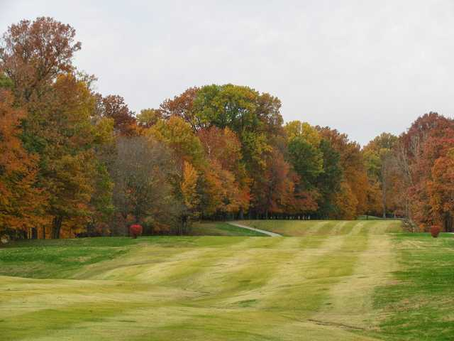 A view of a fairway at Wooded View Golf Course