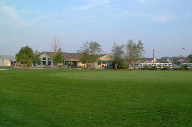 A view of the practice area at Fallen Timbers Fairways