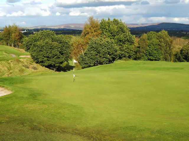 A view of the 2nd green at Reddish Vale Golf Club