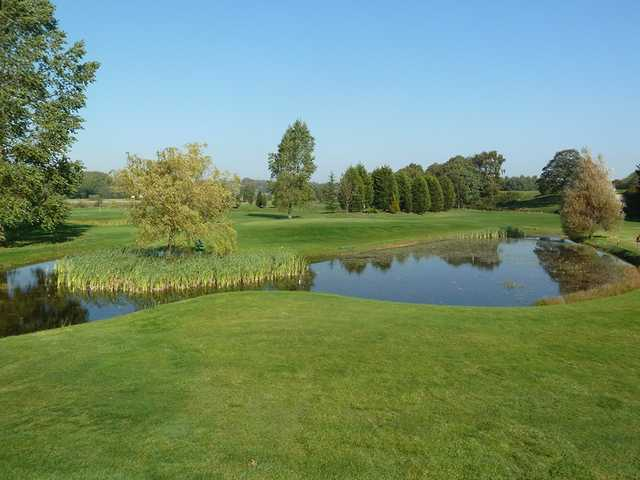 A view over a pond at Malton & Norton Golf Club