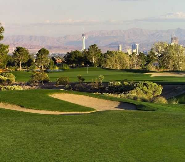 A view of hole #17 with the Las Vegas Strip in the distance from Mountain at Angel Park Golf Club