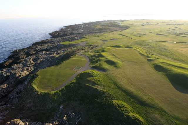 Aerial view of green #4 and #5 at Ardglass Golf Club