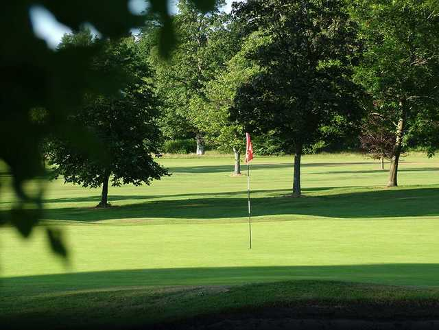 A sunny day view of a hole at Buchanan Castle Golf Club
