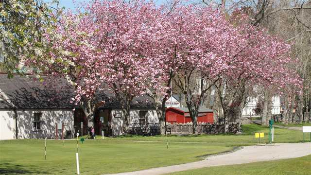 A view of the practice area protected by spring blossomed trees at Torvean Golf Club