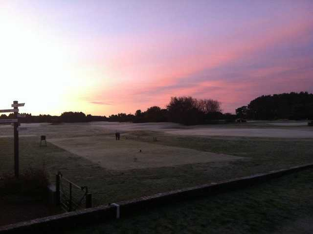 A morning view of a tee at Scotscraig Golf Club