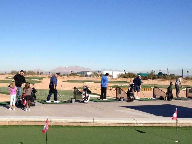 A view of the driving range at Las Vegas Golf Center.
