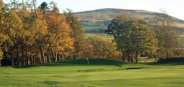 A view of the short, downhill par 4 green #13 at Auchterarder Golf Club